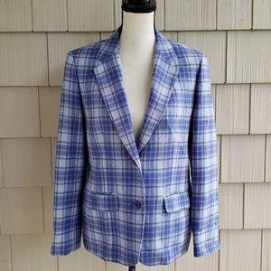 Vtg Pendleton virgin wool plaid classic blazer 12
